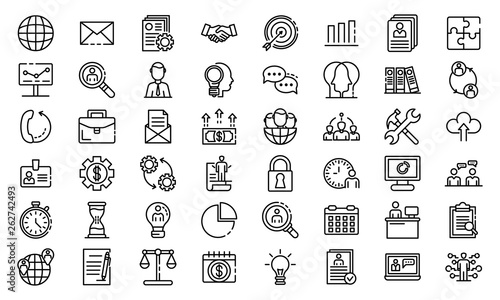 Fototapeta Administrator icons set. Outline set of administrator vector icons for web design isolated on white background obraz