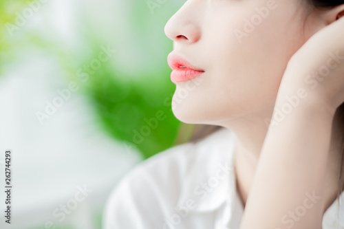 Fotografiet close up woman lip