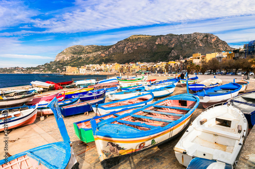 Scenery of Sicily. Traditional fishing village Aspra. Italy