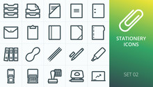Stationery Icons Set. Set Of O...