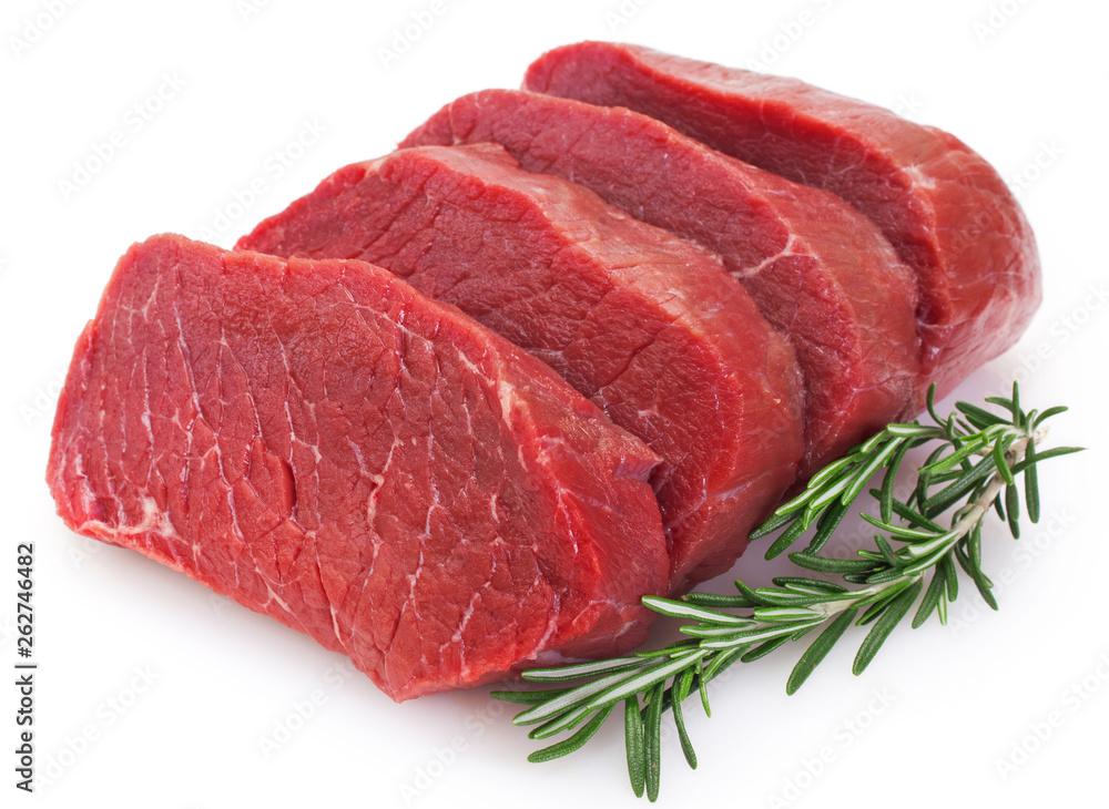 Fototapeta Raw beef on white background