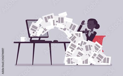 Paper avalanche for businesswoman Fototapet
