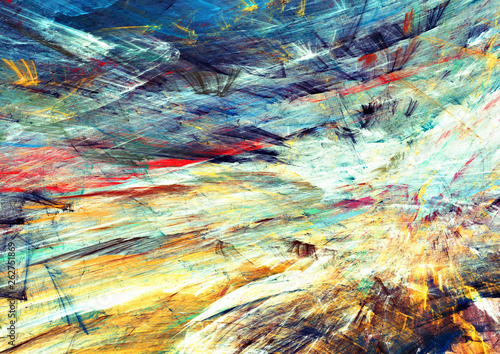 Photo sur Toile Les Textures Abstract futuristic painting color texture. Bright artistic background. Modern multicolor dynamic pattern. Fractal artwork for creative graphic design