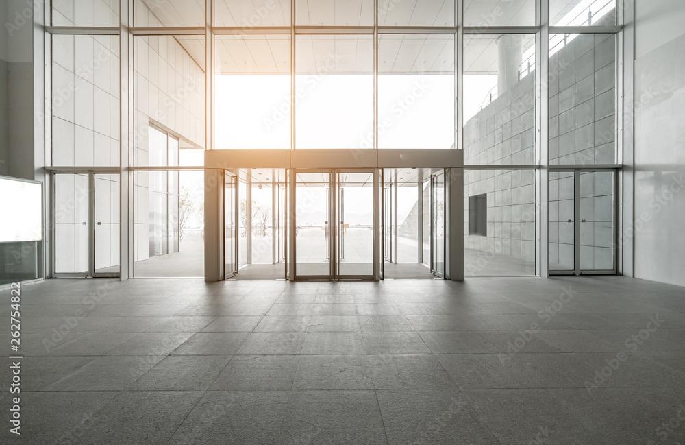 Fototapeta Entrance hall and empty floor tile, interior space