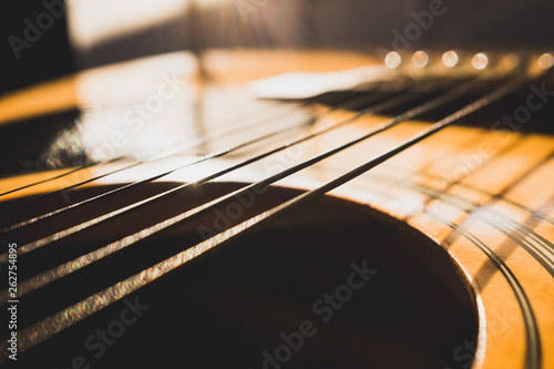 closeup of an acoustic guitar - 262754895