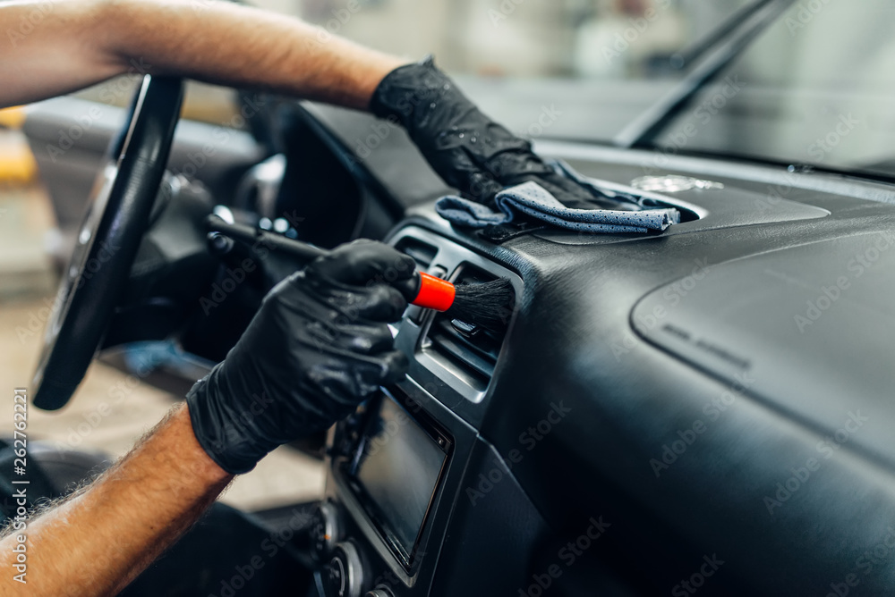 Fototapety, obrazy: Auto detailing of car interior on carwash service