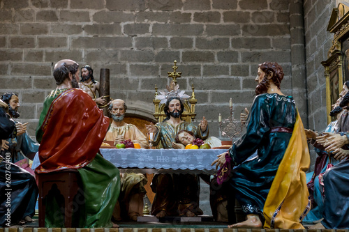 Photo Stands Bali Avila, Spain - April 17, 2019. The Last Supper, religious images of the Holy Week footsteps inside the Cathedral of Ávila, Spain