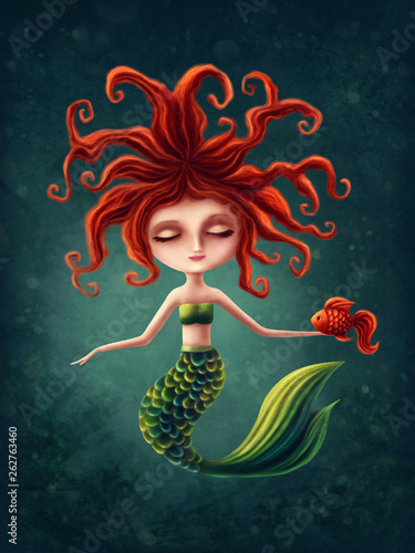 Fototapeta  Cute mermaid with a seahorse