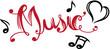 Musik Schrift Musiknoten Herz Musik Festival. Musik writing mit Herz und Musiknoten. Passend für den Sommer, für Konzerte, Musik Festivals, Goa, Trance, Electro, Disco, Party.