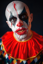 Portrait Of Mad Bloody Clown, Face In Blood