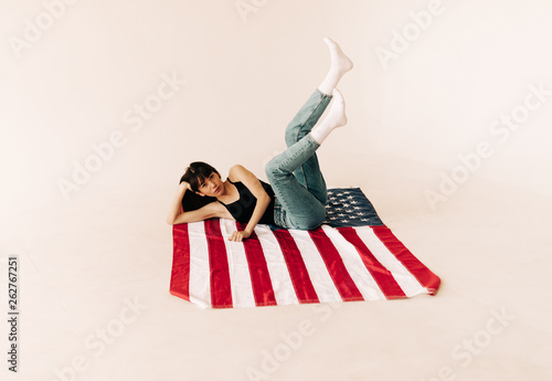 Young woman on the american flag #262767251