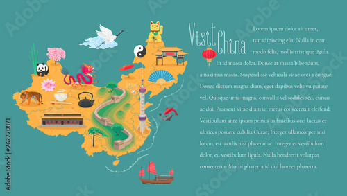 Cuadros en Lienzo  Map of China horizontal article layout vector illustration