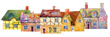 Street View With English Village Buildings In Row. Watercolor Old Stone Europe Houses. Hand Drawn Illustration