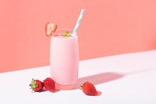 Strawberry Smoothie In Glass W...