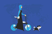 Cartoon Picture With Arabian Woman Riding Fast Modern Electric Bicycle With Wotld Maps, Globe. Enjoying Futuristic Bike Ride And He's Walking The Dog. Flat Style Vector Illustration. Blue Background.