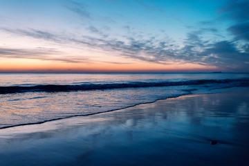 beautiful sunset on a lonely beach