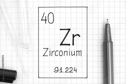 Vászonkép  Handwriting chemical element Zirconium Zr with black pen, test tube and pipette