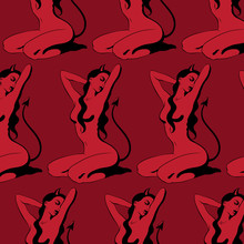Vector Pattern With Hand Drawn Illustration Of Demon Girl Sitting On Her Knees .