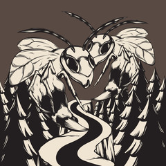 Vector hand drawn illustration of wasps in forest . Creative artwork.