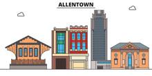 Allentown,United States, Flat Landmarks Vector Illustration. Allentown Line City With Famous Travel Sights, Design Skyline.