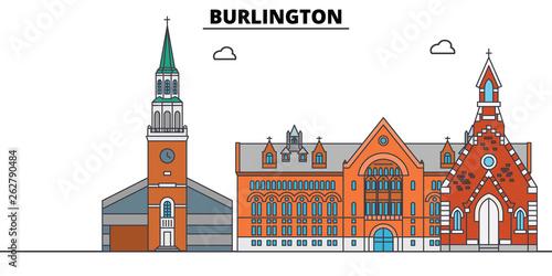 Fotografie, Obraz  Burlington,United States, flat landmarks vector illustration