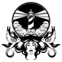 Vector Hand Drawn Illustration Of Woman With Birds And Landscape With Sea Waves And Lighthouse.