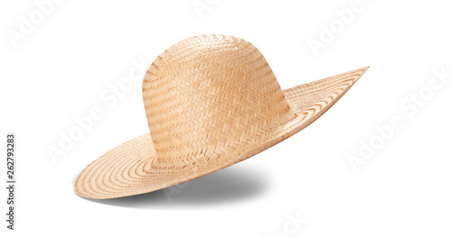Obraz Pretty straw hat with ribbon and bow on white background. Beach hat top view isolated - fototapety do salonu
