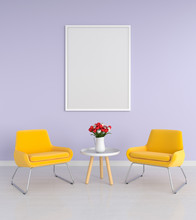 Blank Photo Frame For Mockup In Living Room, 3D Rendering