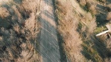 Top View On Abandoned Road Wit...