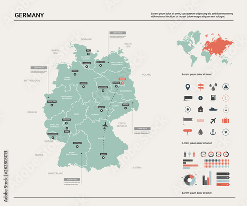 Country Of Germany Map.Vector Map Of Germany High Detailed Country Map With Division