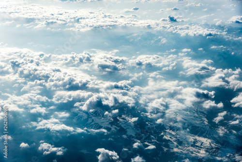 Foto op Plexiglas Arctica Top view of white clouds above the ground or water