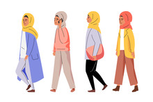 Muslim Women Walking In Line V...