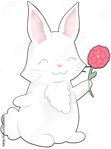 Photo  Cute White Bunny with Flower