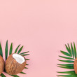 Palm leaves and coconuts on pink pastel background