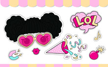 Set Of Cute Girlish Vector Stickers For Lol Doll Party. Element Of Design For Invite Card. Photo Booth Props. Doodle Pink Sweet Picture For Kids Daily Book, Scrapbook, Notebook. Summer Girl T-shirt