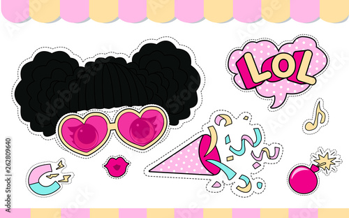 Fotografie, Tablou Set of cute girlish vector stickers for lol doll party