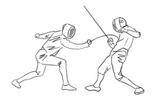 Fencer Attacks The Opponent. Contour Drawing. Two Fencing Athletes At Tournament. Fighting Swordsmen In Protective Sportswear. Fencing Championship. Vector Hand Drawn Illustration. Isolated Silhouette