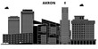 Akron,United States, vector skyline, travel illustration landmarks sights
