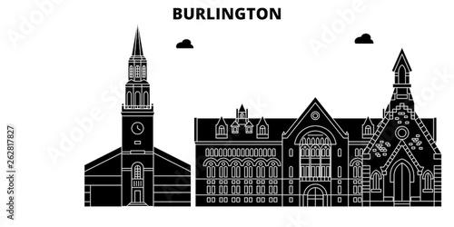 Fototapeta  Burlington , United States, outline travel skyline vector illustration