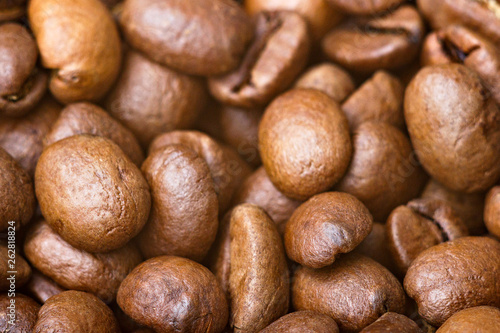 Fotografie, Obraz  Roasted coffee beans, closeup. Background.