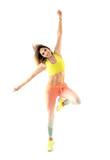 Zumba dance fitness instructor doing sport aerobic exercises. Motivational coach