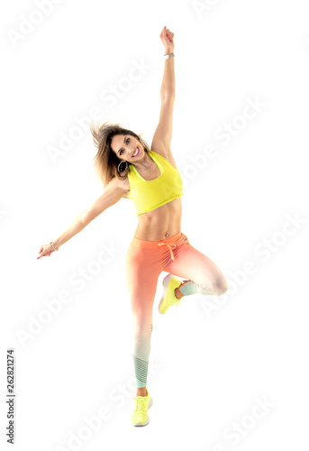Zumba dance fitness instructor doing sport aerobic exercises Canvas Print