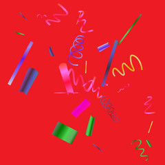 Colorful colored confetti on a red background.