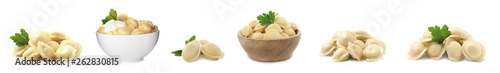 Photo  Set of delicious cooked dumplings on white background