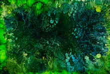 Beautiful Abstraction Of Liquid Paints In Slow Blending Flow Mixing Together Gently