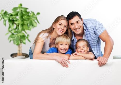 Keuken foto achterwand Eigen foto Beautiful smiling family on background