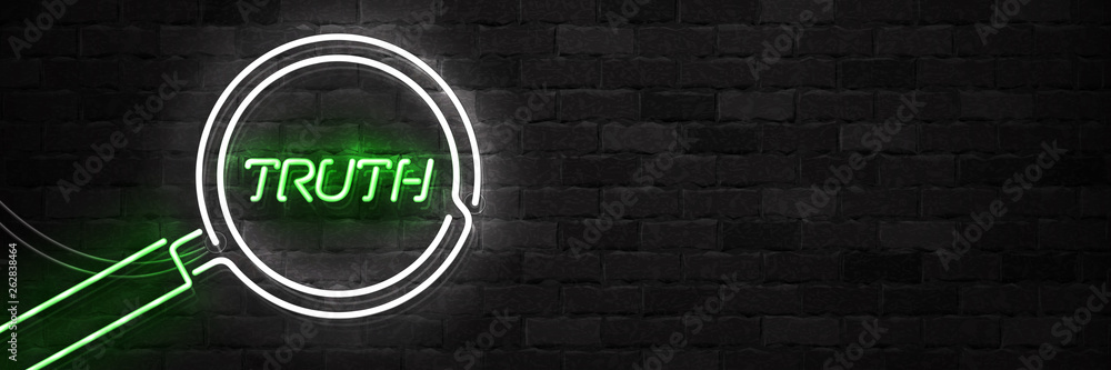 Fototapeta Vector realistic isolated neon sign of Truth flyer logo for template decoration on the wall background.