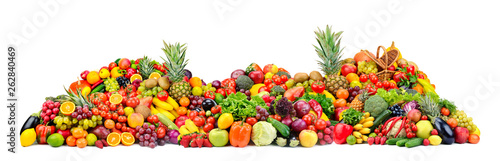 Poster Cuisine Big pile fruits and vegetables isolated on white