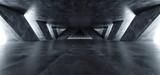 Fototapeta Fototapety przestrzenne i panoramiczne - Sci Fi Modern Concrete Cement Dark Empty Asphalt Reflective Grunge Hall Room Corridor Tunnel Spaceship Glowing White Cinematic Daylight Rays Glow 3d Rendering