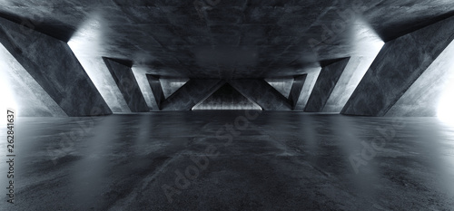 Fototapeta Sci Fi Modern Concrete Cement Dark Empty Asphalt Reflective Grunge Hall Room Corridor Tunnel Spaceship Glowing White Cinematic Daylight Rays Glow 3d Rendering obraz